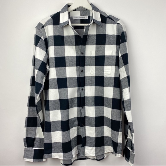 National Standard black & white plaid men's shirt